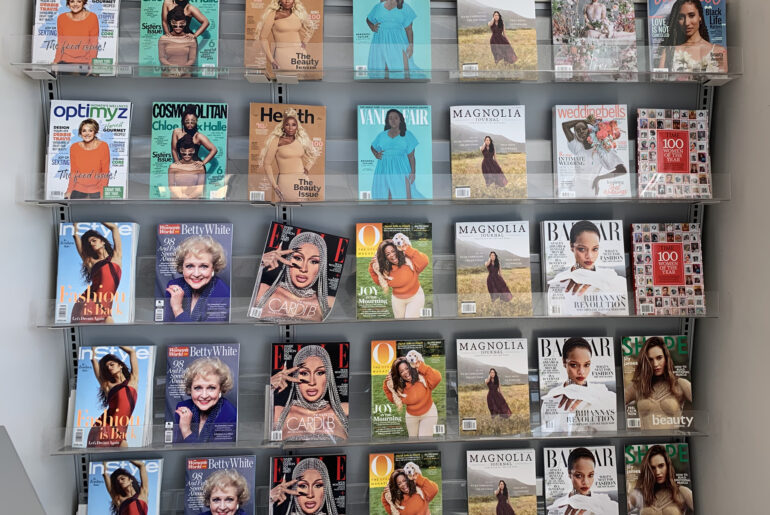 Display of magazines featuring women of colour